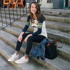 Weekend wear.  Thursday Night Football is well underway, and I'm crossing my fingers this weekend brings us a Seahawks win. Here's a peek at my @nflfanstyle--casual, cool and baby belly friendly.  Shop the look by clicking the link in my profile or via @liketoknow.it  http://liketk.it/2peRU.  Sizing note: I've linked to the non-maternity version of this top, but you can also find the maternity style via nflshop.com. #liketkit #ltkbump #ltkstyletip #ltkgameday