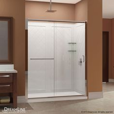 DreamLine Infinity-Z Brushed Nickel Acrylic Wall and Floor 3-Piece Alcove Shower Kit (Common: 30-in x 60-in; Actual: 76.75-in x 30-in x 60-in)