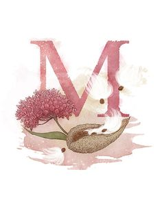 Letter M Milkweed - Part of an alphabet/initials series featuring natural objects such as flowers, fruits, minerals and animal elements.  Printable PNG file (300 DPI/8.5 x 11) of my own original mixed media illustration.  Other letters available:  Acorn - Azalea - Ammolite - Bur - Conch -