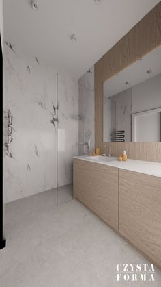 Modern wooden bathroom with marble tiles / Portfolio projektowanie wnętrz lublin   Czysta forma   Projektowanie wnętrz Lublin, Warszawa Bathroom Lighting, Bathtub, Stone, Mirror, Wood, Modern, Furniture, Home Decor, Bathroom Light Fittings