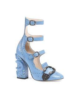 Gucci Iowa Strappy Block Heel Pumps | Bloomingdale's