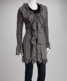 This Gray Knit Ruffle Long-Sleeve Cardigan by Michael K is perfect! #zulilyfinds...........pretty good site to get some great deals.