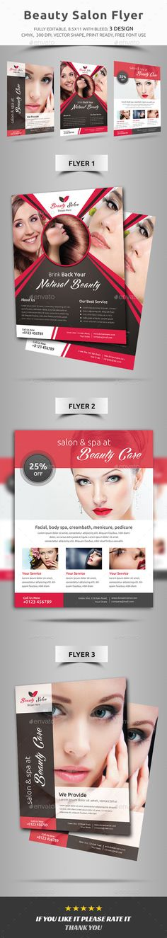 Beauty Saloon Flyer Template Pedicures, Foot care and Fonts - hair salon flyer template