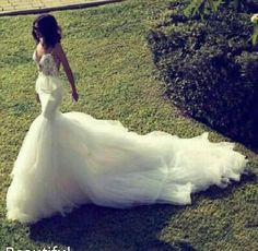 Cheap dress stone, Buy Quality gown wedding dress directly from China dress sizes for men Suppliers: Luxury Romantic Lace Wedding Dresses 2017 New Chapel Train Tulle Mermaid Bridal Gowns Vestidos De Novia Customized Wedding Gowns Dream Dress, I Dress, Dress Lace, Dream Wedding Dresses, Wedding Gowns, Wedding Bride, Lace Wedding, Backless Wedding, Wedding Inspiration