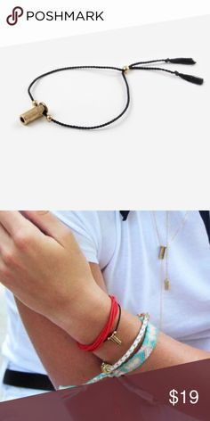 """Half United Charlotte Bracelet Back to basics style bracelet, simple but incredibly chic💕. 5"""" adjustable thread bracelet. Gold plated 9mm bullet top casing, tiny knotted tassel ends, handmade in USA🇺🇸. Fashion with a cause. For every Half United product you purchase, you provide 7 meals for a child in need. Half United Jewelry Bracelets"""
