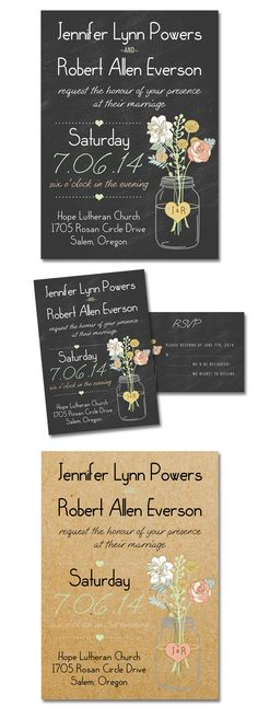Mason Jars Inspired Rustic Wedding Invitations with Chalkboard or Burlap Backgrounds