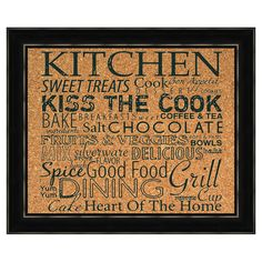 Framed corkboard with a silk-screened typographic motif.   Product: CorkboardConstruction Material: Cork...