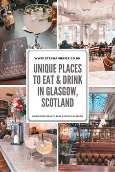 Looking for unique places to eat and drink in Glasgow, Scotland? This guide covers quirky cafes in Glasgow, independent bars on Ashton Lane, cocktail bars in Merchant City and beautiful restaurants in Glasgow city centre. #glasgow #scotland #scotlandtravel #scotlandtraveltips #glasgowfood Backpacking Europe, Europe Travel Tips, Travel Guides, Scotland Travel, Glasgow Scotland, Scotland Trip, Ireland Travel, Places To Eat, Cool Places To Visit