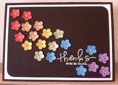 Punch out & save little flowers from scrap paper to make rainbow flower cards (thank you, birthday, etc).  Could use glitter glue in the centers instead of tiny rhinestones.