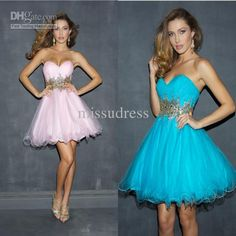 Wholesale Short Light Blue Prom Dresses Sweet 16 Dress Strapless Beading And Sequin Tulle Homecoming Dress, Free shipping, $112.0-134.4/Piece | DHgate