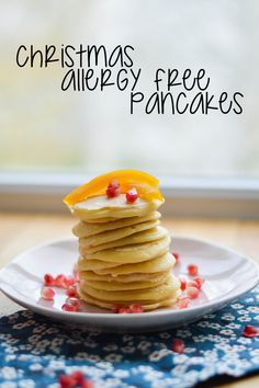 Gluten free and dairy free coconut and candied orange pancakes! Yeah!