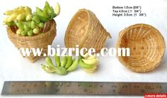 Miniature Bamboo Fruit Basket, Woven Basket / Thailand Wicker Crafts for sale