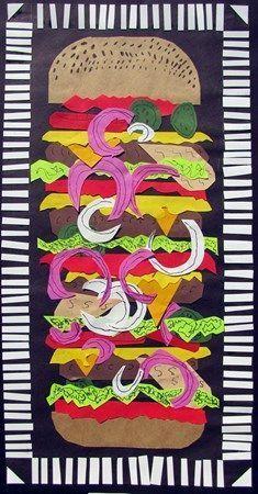 Burger stack kids art   food art   pop art projects for kids   collage   paper art   art class   k-8