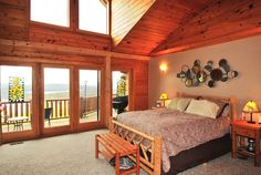 The modern log home decor of the Waltzing Moose. http://www.deepcreekvacations.com/deep-creek/lake-access/house/rentals/waltzing-moose-lodge/153/alpha