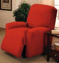 "JERSEY RECLINER COVER----LAZY BOY----TANGERINE---""STRETCHES"" --WASHABLE !!! #MADISON"