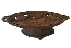 German Carved, Black Forest Music Box, Footed Bowl