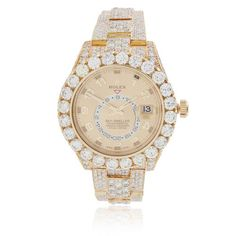 161 SOLD Brand :Rolex Model :Sky-Dweller Materials : 18k Yellow Gold Stone Type : White Round Diamonds Carat Weight : 40CTW Clarity : SI Color : G-H Movement :Perpetual, Mechanical, Self-winding (A