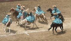 """Son ocho mujeres montadas a caballo ejecutando ejercicios como es el abanico, la coladera, combinado, la escalera y la flor. La escaramuza deberá portar un traje de """"adelita"""" o charra."""