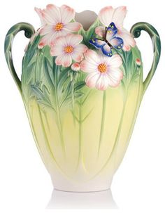 Summer 2013 New Intro - Franz Porcelain Collection Cosmos Of Color - Cosmos and Butterfly Vase