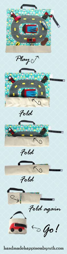 Beautiful handmade Car Play Mat to encourage open ended imaginative play in your child.  Organic Cotton Canvas back makes a sturdy mat that lays flat for play, stoplight for color matching, gas station for fine motor skills, mud puddle and carwash for endless independent play.  Then the whole thing folds up into it's own convenient little carrying case.  Makes a smart Christmas gift or ring bearer gift.  Designed by an architect and a mom.  Available from Handmade Happiness by Ruth