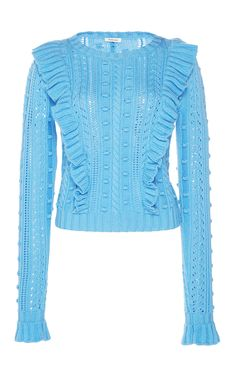 Ruffled Cableknit Sweater by MANOUSH for Preorder on Moda Operandi