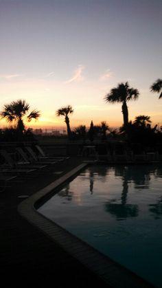 Galvestonian poolside at sunset.  Galveston, TX.