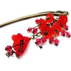 Japanese hair stick with frosted red lucite flowers floral garden... ($17) ❤ liked on Polyvore featuring accessories, hair accessories, flower hair pins, antique hair accessories, red hair pins, floral hair accessories and floral hair pins