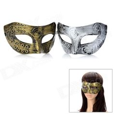 Masquerade Party Harm Fancy Dress Masks - Golden + Silver (Pair) - From 4,95 for Euro 2,55