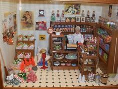 """""""Old Grocery Store"""" Miniature Collectible Roombox. The Roombox, miniature groceries and furniture are handmade."""