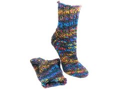 141 NORTHERN LIGHTS Wool Blended Hand Knit Socks by SlicKnitsSocks