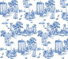 dr who weeping angels toile de jouy fabric by debi_birkin on Spoonflower - custom fabric