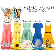 Disney Fairies - Tink and her friends- the ultimate group disneybound! Disney Character Outfits, Cute Disney Outfits, Disney Dress Up, Disney Themed Outfits, Character Inspired Outfits, Disney Bound Outfits, Cute Outfits, Princess Inspired Outfits, Disney Princess Outfits