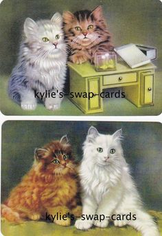 R61 Pair Swap Playing Cards Mint Condition Cute Fluffy Cats Kittens Linen Finish | eBay