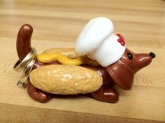 Items similar to Hot Dog Chef Ring Holder on Etsy Dachshund Breeders, Dachshund Puppies For Sale, Mini Dachshund, Dachshunds, Hot Dogs, Weiner Dogs, Ring, Teaching Ideas, Polymer Clay