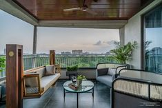 A Sophisticated And Urbane Apartment Interior In Ahmedabad | Space Studio - The Architects Diary Home Decor Hooks, Cute Room Decor, Home Interior Design, Interior And Exterior, Interior Designing, Porch Decorating, Interior Decorating, Terrace Decor, White Brick Walls