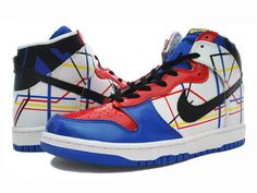 new products 2bc6a c5aed I Love Paris Nike Dunk High Customs White Red Blue Yellow Black
