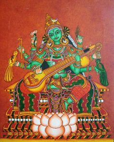 Matangi Devi Matangi is one of the Mahavidyas, ten Tantric goddesses. She is considered to be the Tantric form of Sarasvati. Kerala Mural Painting, Stencil Painting, Goddess Names, Saraswati Goddess, Kalamkari Painting, Hindu Deities, Hinduism, Martial Arts Weapons, Indian Folk Art
