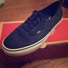 Vans Size 9.5 women's vans never worn, new with box, glittery black color. Very pretty! Feel free to make an offer! Vans Shoes Sneakers