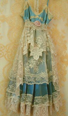 teal blue tea stained silk lace velvet slip by vintageopulence
