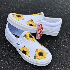 Women shoes Sneakers Vans - Women shoes For Work Flats - - Vans Shoes Fashion, Women's Shoes, Hype Shoes, Flat Shoes, Cute Sneakers, Slip On Sneakers, Vans Slip On Shoes, Shoes Sneakers, Sunflower Vans