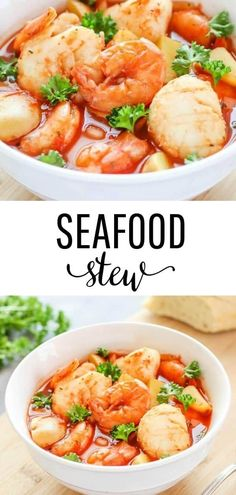 Slow Cooker Seafood Stew Recipe - I Heart Naptime A delicious seafood recipe cooked in a tomato-based broth with potatoes. This slow cooker seafood stew is comforting and is an easy to make dinner recipe! Seafood Soup Recipes, Seafood Stew, Chowder Recipes, Seafood Dinner, Chicken Soup Recipes, Seafood Chili Recipe, Slow Cooker Fish Recipes, Easy Stew Recipes, Fish And Seafood