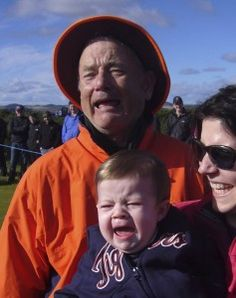 Famous actor Bill Murray with a child and his mother.