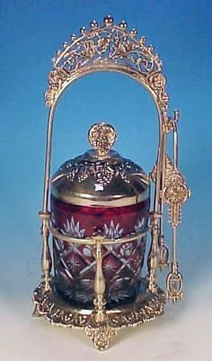 Ruby Red Cut to Clear Glass Pickle Castor in Silverplate Holder with Grapes and…