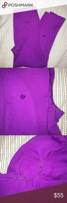 LULULEMON ZONE IN CROP Color is tender violet, no rips, stains, or pilling. Minimal wear in seat area. Posted with and without flash to show. lululemon athletica Pants