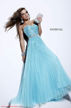 long, flowing, and glittering light blue dress - this dress is beautiful!!!