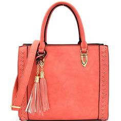 Dannelle Coral Tassel Tote Handbag ($62) ❤ liked on Polyvore featuring bags, handbags, tote bags, coral handbags, summer totes, red purse, red tote and red handbags