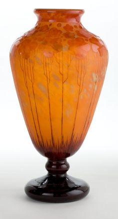 CHARLES SCHNEIDER LE VERRE FRANCAIS GLASS CARDAMINE VASE  The Cardamine vase with acid-etched decoration fading from violet base to orange body, circa 1925 Engraved: Le Verre Francais  18-1/4 inches high (46.4 cm) C. Schneider Glassworks Ref.: p. 133, Joulin and Maier, 2004 #artdeco