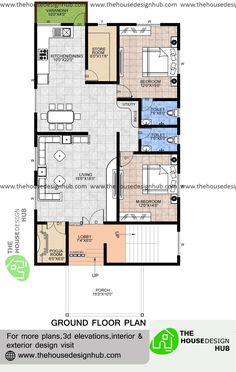 Duplex Floor Plans, Bungalow Floor Plans, 2bhk House Plan, Indian House Plans, 2 Bedroom House Plans, Architectural Floor Plans, Floor Plan Layout, Contemporary House Plans, Indian Homes