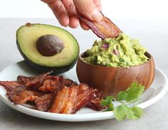 """Bacon """"Chips"""" and Thick Guacamole Dip"""