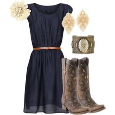 """""""Vintage cowgirl"""" ..... But minus the cowboy boots. I would just do brown knee high boots by diane.smith"""